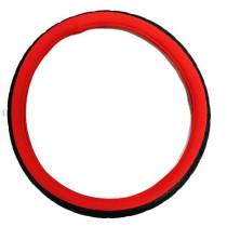 Műbőr sport mintás szellőző kormányvédő piros-fekete KV-HB23825/7-1r